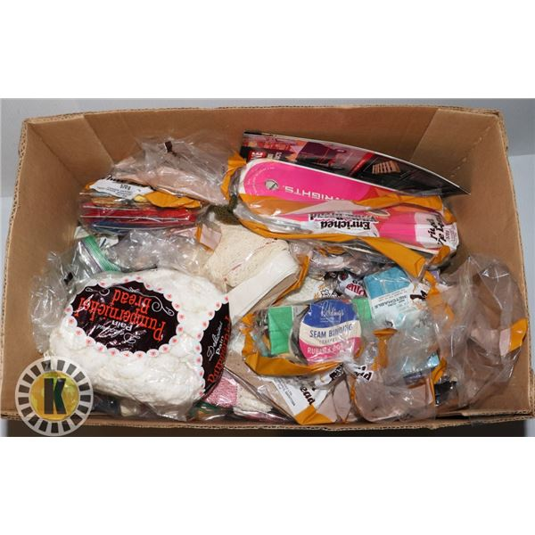 BOX OF CRAFT AND SEWING SUPPLIES