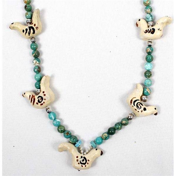 Pottery Bird & Ocean Jasper Bead Necklace