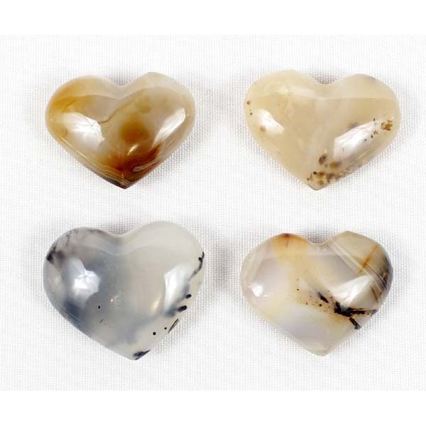 4 Carved Agate Hearts