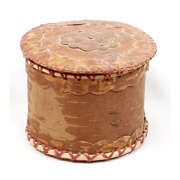 Vintage Alaskan Lidded Birch Bark Box