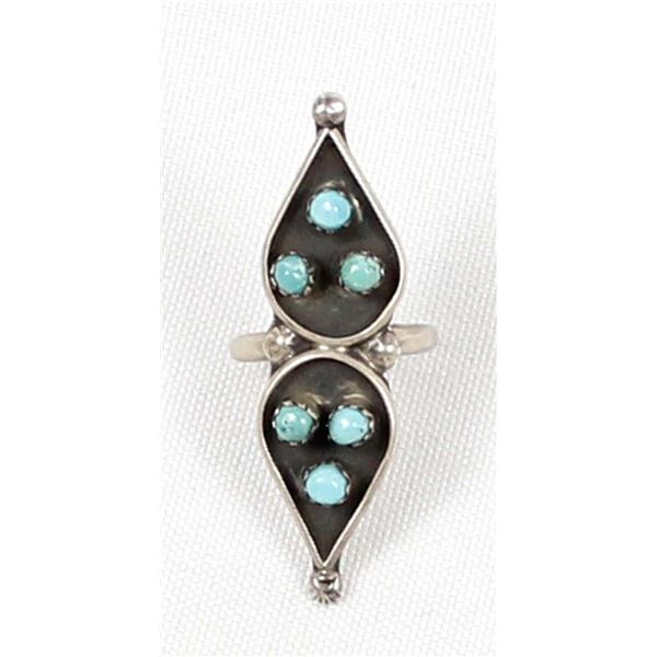 Vintage Zuni Sterling Turquoise Ring, Size 6.5