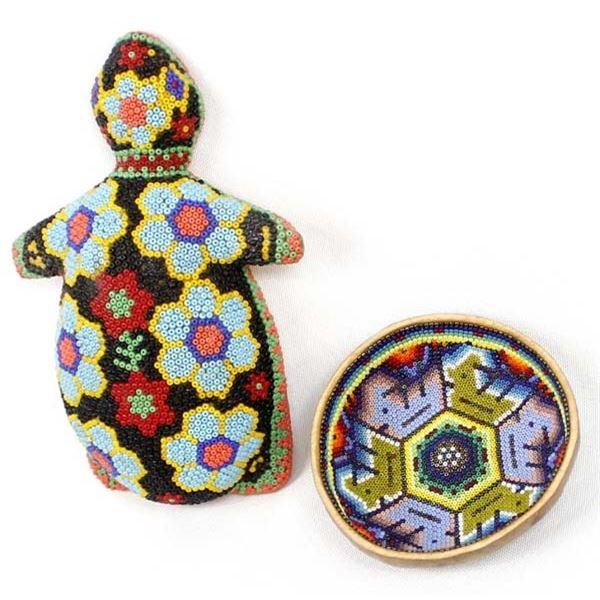 2 Pieces of Huichol Beaded Art