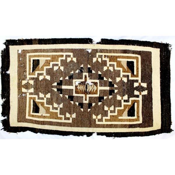 Historic Navajo Two Grey Hills Wool Textile Rug