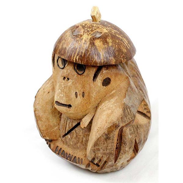 Hawaiian Carved Coconut Monkey Bank