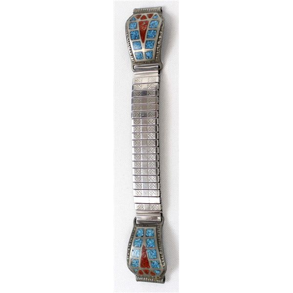 Navajo Chip Inlay Turquoise & Coral Watch Band