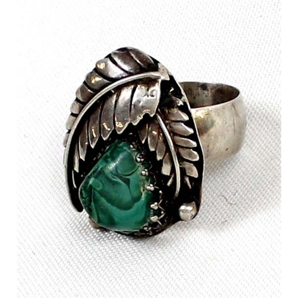 Vintage Navajo Sterling Malachite Ring, Size 13.5