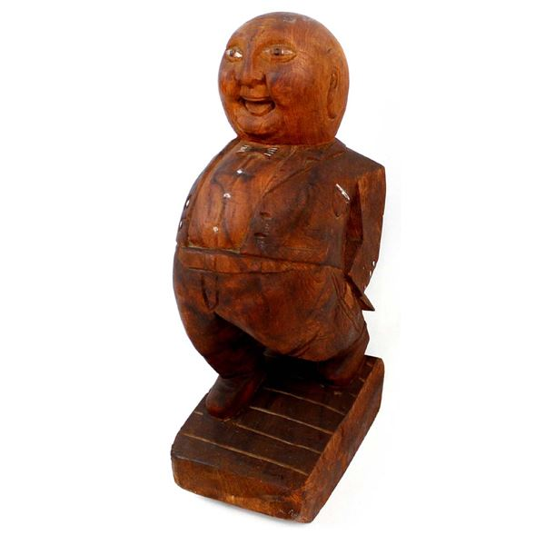 Antique Folk Art Carved Wood Jolly Fat Man