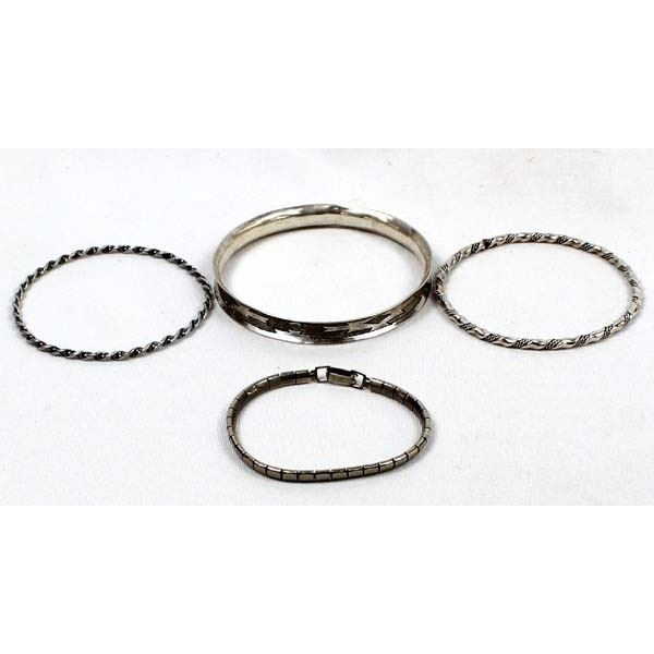 4 Navajo Sterling Silver Bangle Bracelets