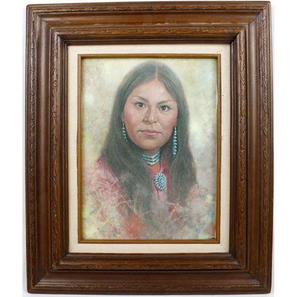 1975 Navajo Framed Print ''Hannah'', Jimmy Abeita