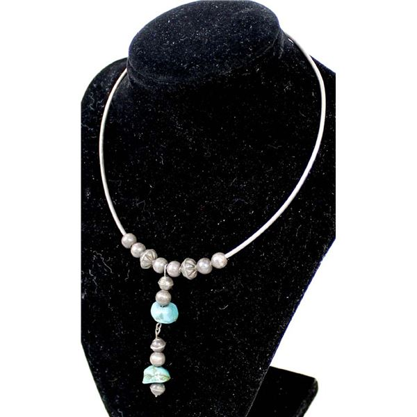 Antique Navajo Sterling Bead & Turquoise Choker