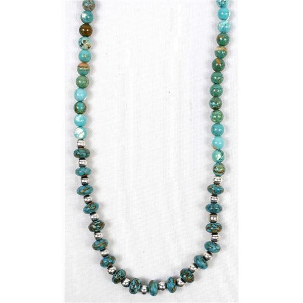 Ocean Jasper and Silvertone Bead Necklace