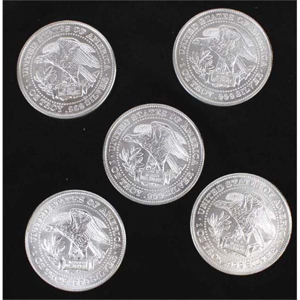 Five .999 Fine Silver Eagle Coins