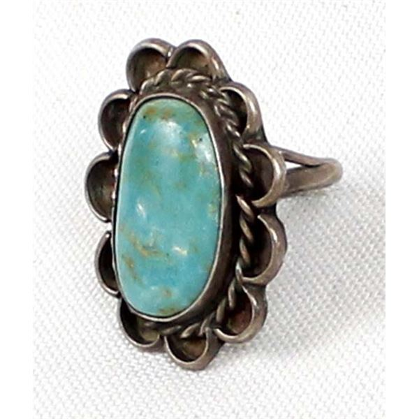 Navajo Old Pawn Sterling Turquoise Ring, Size 6.5