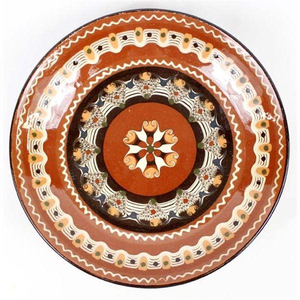 Mexican Redware Swirl Pottery Pedestal Bowl
