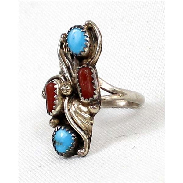 Navajo Sterling Turquoise & Coral Ring, Size 9.5