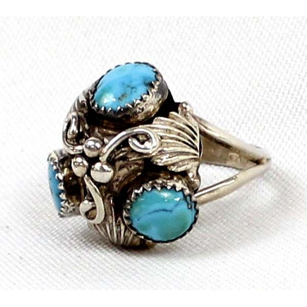 Navajo Sterling Turquoise Ring, Size 9.5