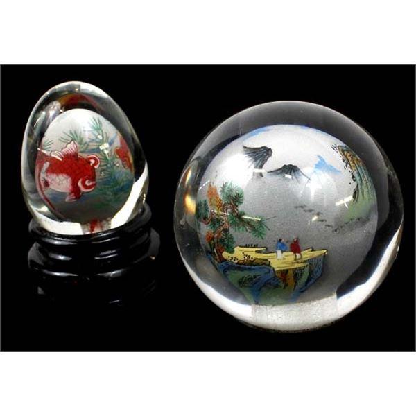 2 Oriental Reverse Painted Glass Orbs
