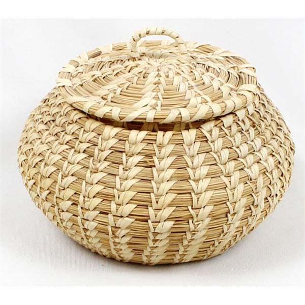 Vintage Papago Yucca & Beargrass Lidded Basket