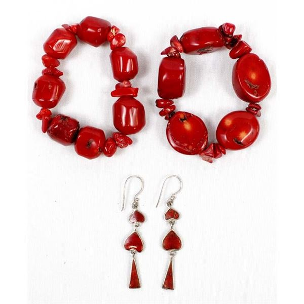 2 Coral Bracelets and Sterling Coral Earrings