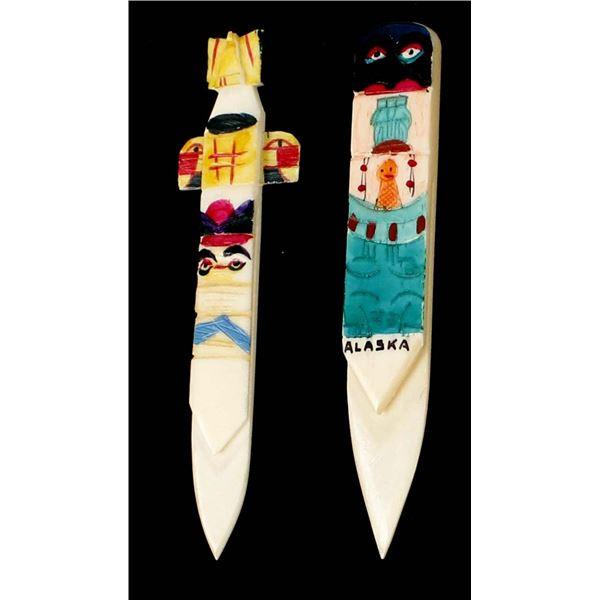 2 Northwest Coast Carved Ivory Bookmarkers