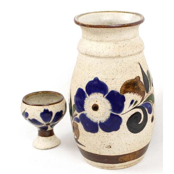 Mexican Tonala Pottery Vase and Cup