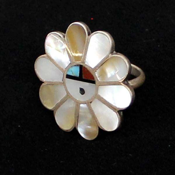 Zuni Sterling Inlay Sun God Ring, Size 6.5