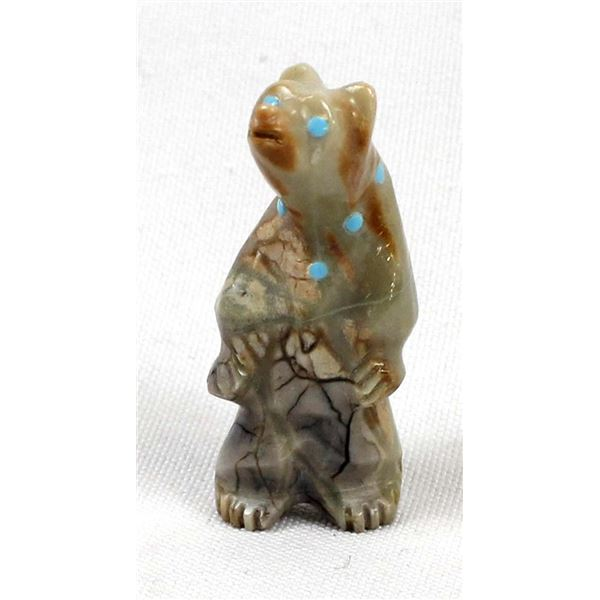 Zuni Picasso Marble Bear Fetish by Ephran Chavez