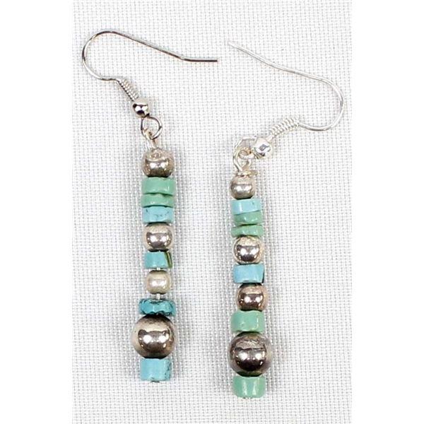 Sterling & Turquoise Heishi Bead Earrings