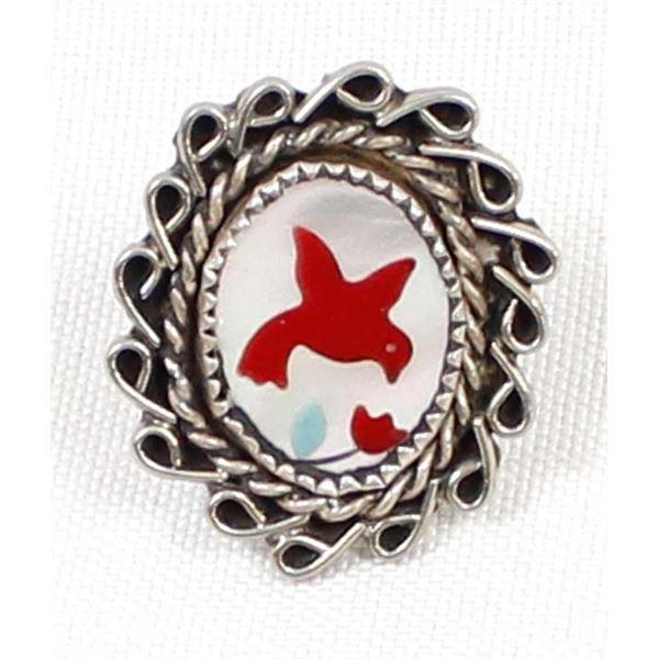 Navajo Sterling Inlay Redbird Ring, Size 5