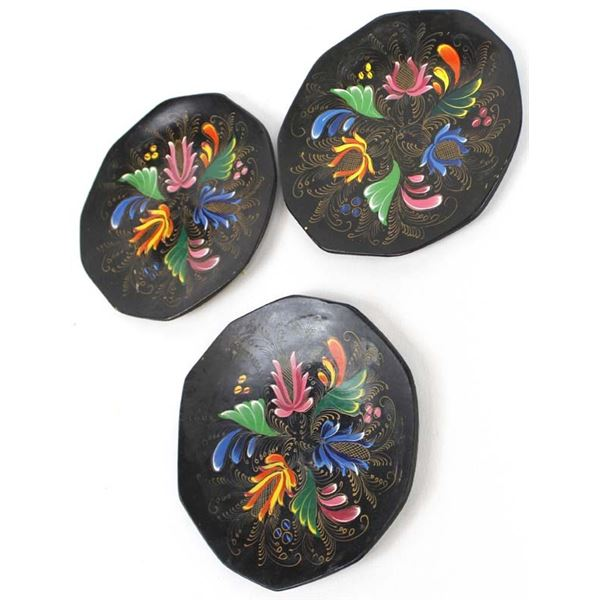 3 Mexican Hand Painted Wood Plates