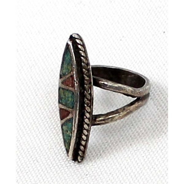 Navajo Old Pawn Sterling Chip Inlay Ring, Sz 4.5