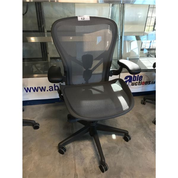 GRAPHITE HERMAN MILLER AERON FULLY ADJUSTABLE TASK CHAIR (SIZE C) SUGGESTED RETAIL PRICE $1445 US