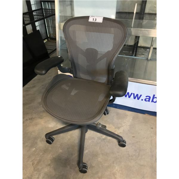 GRAPHITE HERMAN MILLER AERON FULLY ADJUSTABLE TASK CHAIR (SIZE A) SUGGESTED RETAIL PRICE $1295 US