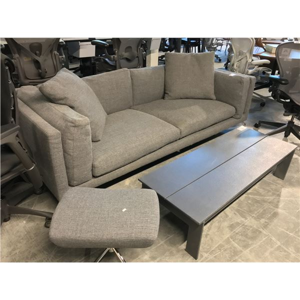 """GREY PEBBLE WEAVE COMO COLLECTION 92"""" SOFA SUGGESTED RETAIL PRICE $6695 US WITH PEBBLE WEAVE NOOMI"""