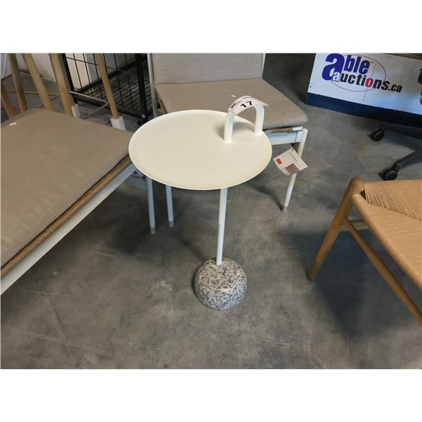 HAY WHITE BOWLER END TABLE WITH GRANITE BASE  SUGGESTED RETAIL PRICE $277 US