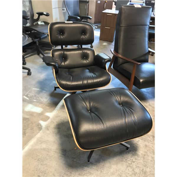 BLACK FULL GRAIN LEATHER HERMAN MILLER EAMES PALISANDER LOUNGE CHAIR AND OTTOMAN SUGGESTED RETAIL