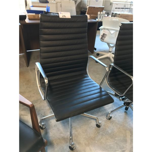 BLACK LEATHER HERMAN MILLER EAMES HI-BACK EXECUTIVE CHAIR SUGGESTED RETAIL PRICE $3045 US