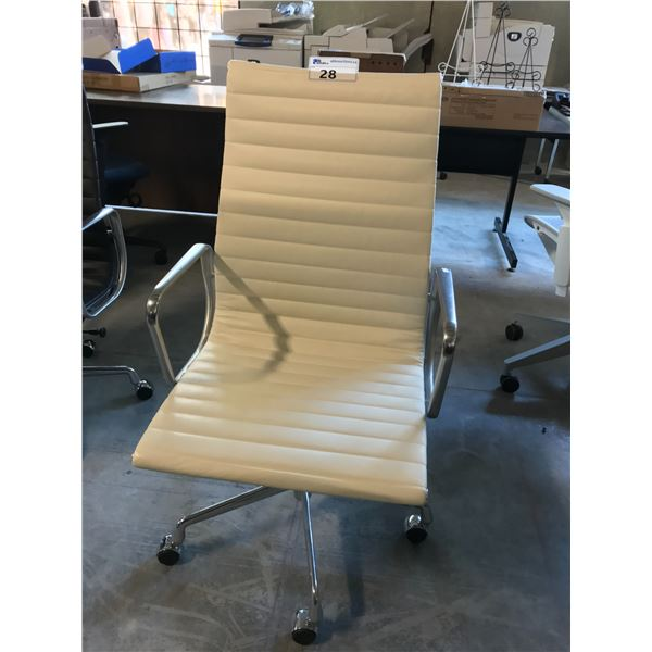 CREAM VINCENZA LEATHER HERMAN MILLER EAMES HI-BACK EXECUTIVE CHAIR SUGGESTED RETAIL PRICE $2545 US