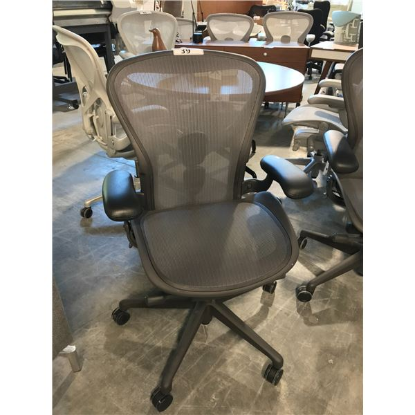 GRAPHITE HERMAN MILLER AERON FULLY ADJUSTABLE TASK CHAIR WITH LEATHER ARM CAPS (SIZE B) SUGGESTED