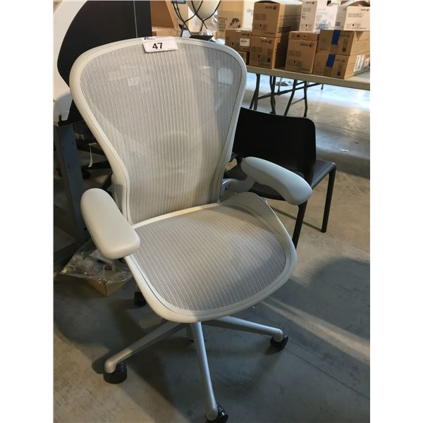 MINERAL GREY HERMAN MILLER AERON FULLY ADJUSTABLE TASK CHAIR WITH NEOPRENE ARM RESTS (SIZE B)