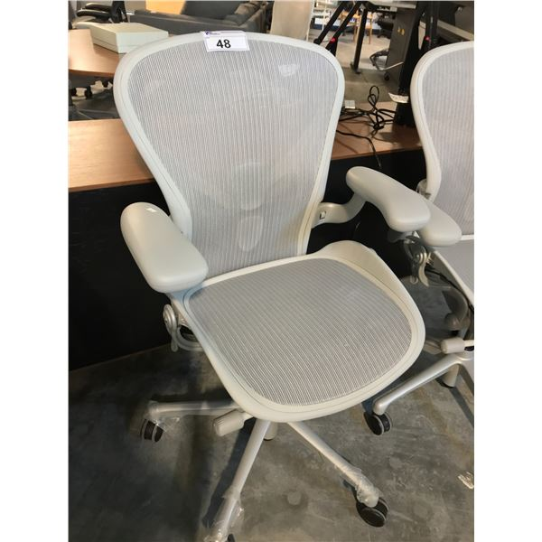 MINERAL GREY HERMAN MILLER AERON FULLY ADJUSTABLE TASK CHAIR WITH NEOPRENE ARM RESTS SUGGESTED