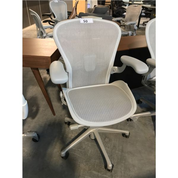 MINERAL GREY HERMAN MILLER AERON STANDARD ADJUSTMENT TASK CHAIR WITH NEOPRENE ARM RESTS SUGGESTED