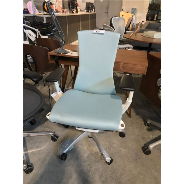 GLACIER BLUE/WHITE HERMAN MILLER EMBODY FULLY ADJUSTABLE GAMING CHAIR SUGGESTED