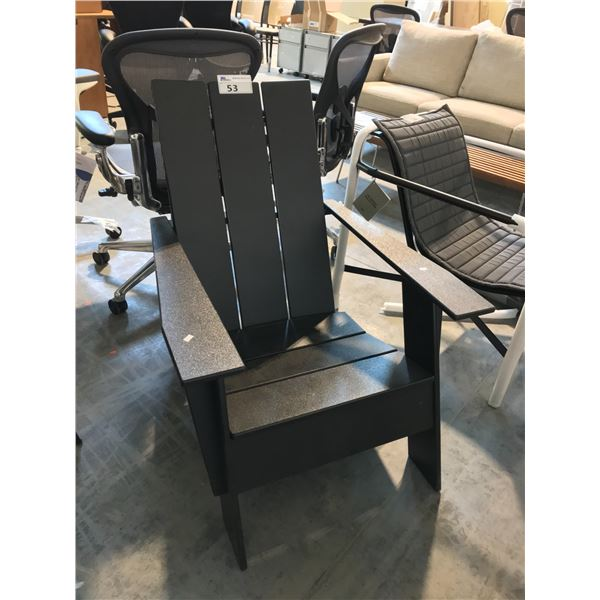 BLACK ADIRONDACK CHAIR SUGGESTED RETAIL VALUE $725 US