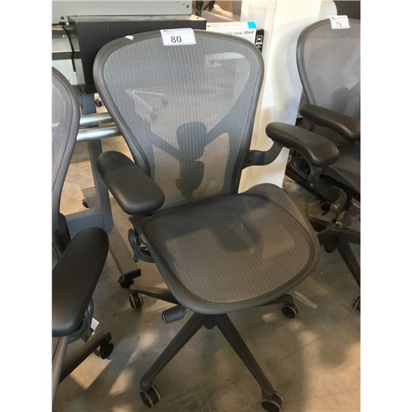 GRAPHITE HERMAN MILLER AERON FULLY ADJUSTABLE  TASK CHAIR (SIZE B) SUGGESTED RETAIL  $1395 US