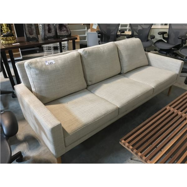 RALEIGH BEIGE PEBBLE WEAVE OAK FRAME 3 SEAT SOFA SUGGESTED RETAIL PRICE $5395 US