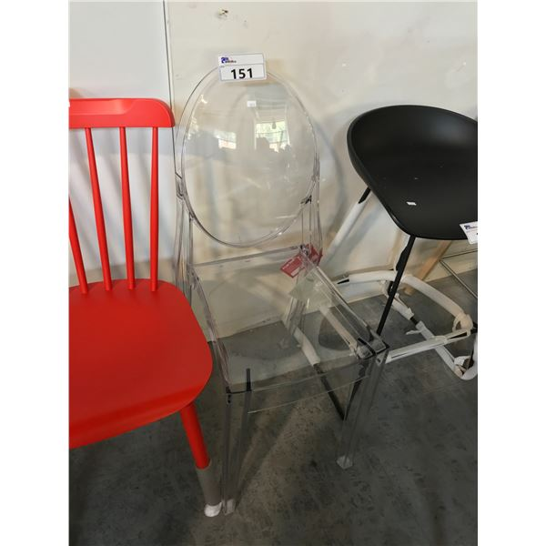 CRYSTAL VICTORIA GHOST SIDE CHAIR SUGGESTED RETAIL PRICE $380 US