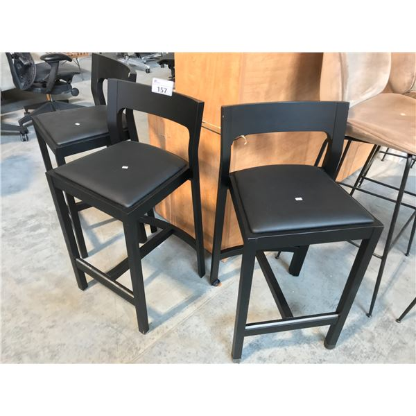 3 BLACK DARKWOOD BAR STOOLS - SOME CONDITION ISSUES PLEASE PREVIEW