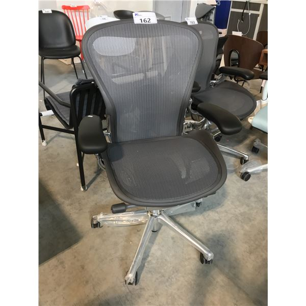 GRAPHITE/CHROME HERMAN MILLER AERON FULLY ADJUSTABLE TASK CHAIR (SIZE B) SUGGESTED RETAIL PRICE