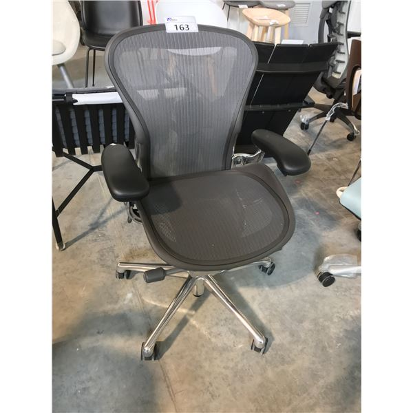 GRAPHITE/CHROME HERMAN MILLER AERON FULLY ADJUSTABLE TASK CHAIR (SIZE A) SUGGESTED RETAIL PRICE